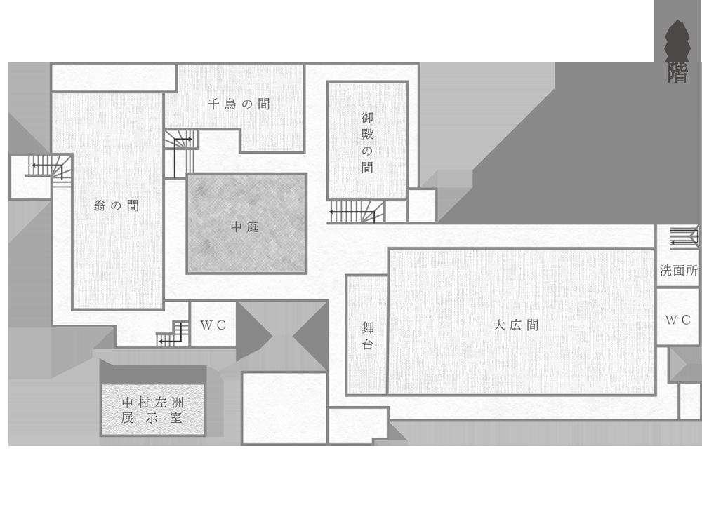 賓日館館内マップ2階